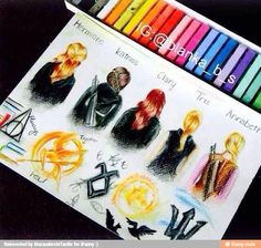 Hermione Granger (Harry Potter), Katniss Everdeen (The Hunger Games), Clary Fray (The Mortal Instruments), Tris Prior (Divergent), and Annabeth Chase (Percy Jackson) In all these fandoms. Tris Prior, Annabeth Chase, Fanart, Fandom Crossover, Clary Fray, Katniss Everdeen, Book Memes, The Mortal Instruments, Book Fandoms