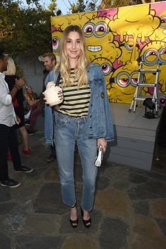 Whitney Port wearing Kenneth Cole Ciera Snakeskin Platform Ankle Strap Sandals, Alison Lou Joe Cool Gold Black Diamond Sunglasses Necklace, Alison Lou Tongue Out Necklace, Ippolita Rock Candy Stud Earrings in Green-Gold Citrine and Devi Kroell Mini Accordion Clutch