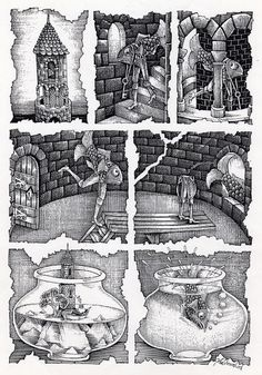 John Vernon Lord: Fragments of a Fish Tale ( 'Fragments of a Fish Tale', a drawing by JVL, 1993. It is a tale about a fish who leaves a tower, which, unbeknown to him, is situated within a fish bowl. He walks with the aid of prosthetic legs and eventually jumps out of a window from the tower only to land into another a fish bowl. )