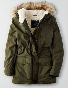 Shop Women's Jackets & Coats at American Eagle to find your new cozy faves! Browse denim jackets, puffer coats, parkas, and more in new colors and designs today! Girls Fashion Clothes, Clothes For Women, Teen Clothing, Fashion Outfits, Coats For Women, Jackets For Women, Stylish Hoodies, Long Parka, Casual Skirt Outfits