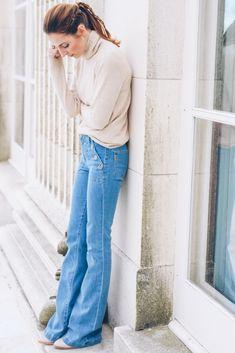 Paige Denim Button Detail Flare Jeans