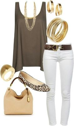 Outfit with white jeans and flats