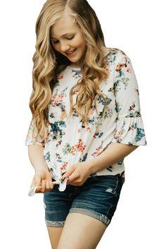 Girls White Floral Print Ruffle Sleeve Tops