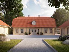 Stocksund är inspirerad av estetiken som präglade 1700-talets prästgårdar. Detta tar Myresjöhus vara på i ett hus för dig som vill ha stora ytor i ditt hus. House Entrance, Malaga, Scandinavian Design, Future House, Interior Architecture, House Plans, Villa, Cottage, Cabin