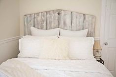 Old boards, white washed!!! Perfect!!!  Vintage Wooden Headboards By Design