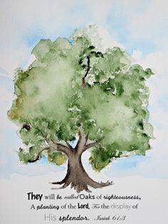 Watercolor painting of Oak Tree with Bible verse. 8x10 Original watercolor art.