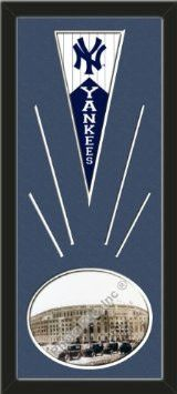 New York Yankees Wool Felt Mini Pennant & Yankee Stadium Outside Photo - Framed With Team Color Double Matting In A Quality Black Frame-Awesome & Beautiful