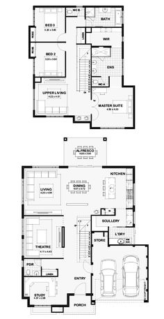 The Ebony - Ben Trager Homes House Layout Plans, Duplex House Plans, Floor Plan Layout, Best House Plans, Dream House Plans, Modern House Plans, House Layouts, Modern House Design, House Floor Plans