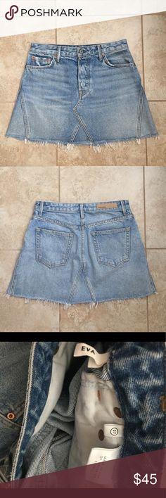 Grlfrnd Eva Denim skirt Eva a-line Denim skirt. Raw hem. Size 27. Worn many times, in great condition GRLFRND Skirts Mini