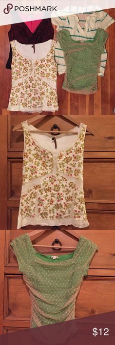 [Donating!] Anthro Tops Bundle! Four loved but still lovely tops from Anthropologie, for one low price. Some flaws but still lots of life left. Will be donating soon, grab these while they're still here! 🌻 Anthropologie Tops