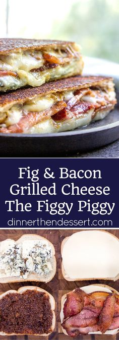 Fig and Bacon Grilled Cheese, otherwise known as The Figgy Piggy is a grilled cheese sandwich with homemade fig spread, bleu cheese, provolone and thick cut bacon. ArtesanoBread AD