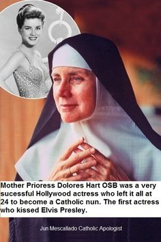 Mother Prioress Dolores Hart: Dolores Hart was a very successful Hollywood actress who left it all at 24 to become a Catholic nun. What an amazing woman and life! Dolores Hart, Religion, Bride Of Christ, Family Affair, Blessed Mother, Special People, Women In History, Roman Catholic, Our Lady
