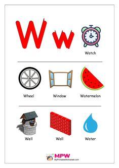 Things that start with W Alphabet Printable Worksheet Alphabet Phonics, Alphabet Charts, Alphabet For Kids, Learning The Alphabet, Alphabet Activities, Preschool Alphabet, Arabic Alphabet, English Alphabet, Alphabet Worksheets