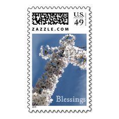 White Cross on Blue Sky BLESSINGS Stamps