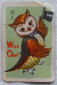 1960s VINTAGE WISE OWL PLAYING CARD by luella
