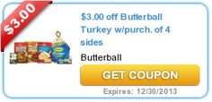 Coupon-Butterball Whole Turkey$3.00  Printable Coupon-Use With $3.00 SavingStar ECoupon Butterball Whole Turkey! Use the Butterball Whole Turkey printable coupon and the Butterball SavingStar ECoupon together and SAVE–$6.00!! http://domesticdivascoupons.com/coupon-butterball-whole-turkey3-00-printable-coupon-use-with-3-00-savingstar-ecoupon-butterball-whole-turkey/
