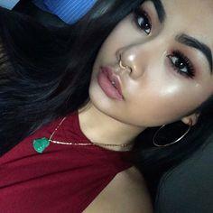 pinterest: jxmva Hair Inspiration, Septum Ring, Hair Makeup, Beautiful Women, Make Up, Hoop Earrings, Girl Stuff, Selfies, Queens
