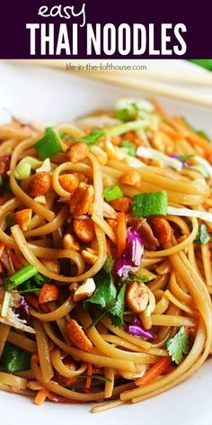 thai recipes Noodles tossed in a sweet and spicy sauce combined with fresh veggies and honey roasted peanuts. Dinner doesnt get easier than these Easy Thai Noodles. Asian Noodle Recipes, Spicy Recipes, Asian Recipes, Chicken Recipes, Vegetarian Recipes, Cooking Recipes, Healthy Recipes, Ethnic Recipes, Recipes With Thai Noodles