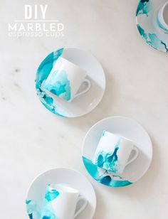 Update old cups and saucers with this cute DIY, using just water and nail polish! It can be a bit...