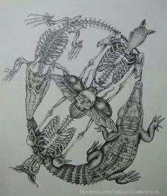 Animal skeleton circle design