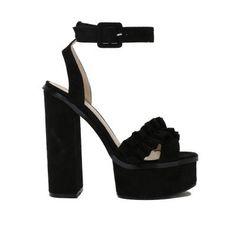 Starlight Ruffle Platform High Heels in Black Faux Suede