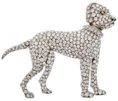 Art Deco diamond boxer dog brooch, circa 1925. Via Diamonds in the Library.