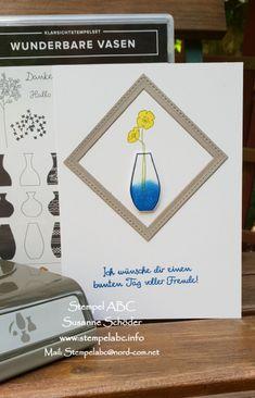 """Mit diesem tollen SetWunderbareVasen ausdem neuen Jahreskatalogmachst Du im Handumdrehen tolle Karten zu verschiedenen Anlässen. Du kannst die Vasen mit """"Wasser füllen"""", so wie ich es gemacht habe, oder auch ein tolles Muster stempeln.  Im Produktpaket ist auch gleich die passende Stanze mit dabei, mit der Du die Vasen ausstanzen kannst.   #PapierGranit #StanzeVasen #StempelWunderbareVasen #StempelkissenFarngrün #StempelkissenMarineblau #StempelkissenOsterglock"""
