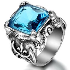 """JewelryWe Domineering Mens Stainless Steel Gothic Dragon Claw Ring Knight Biker Band, Blue Silver (Size 11). Including one blue velvet bag printed """"JewelryWe"""" on it. Material: Stainless Steel + Glass, Color: Blue Silver. Biggest Width: 0.91""""(23mm); Weight: About 19g. Vintage Rock Retro Style Dragon Claw Gothic Biker Band for Men. Suitable for personal wearing or unique gifts for your friends and family, as well as for yourself."""