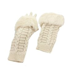 Ivory Fur Trim Cable Knit Winter Fingerless Gloves Arm Warmers