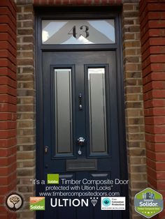 Anthracite Grey Ludlow 2 with etched Top Box Solidor Timber Composite Door Grey Composite Front Door, Black Front Doors, Exterior Front Doors, Entry Doors, House Front Door, Glass Front Door, Front Door Design, Front Door Colors, Solidor Door