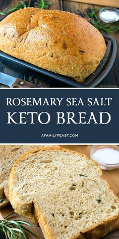 This Rosemary Sea Salt Keto Bread has all of the same flavor and texture of real bread, but with a fraction of the carbs. This Rosemary Sea Salt Keto Bread has all of the same flavor and texture of real bread, but with a fraction of the carbs. Ketogenic Recipes, Ketogenic Diet, Low Carb Recipes, Diet Recipes, Healthy Recipes, Slimfast Recipes, Bread Recipes, Recipes Dinner, Healthy Food
