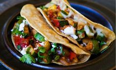 There is no question that these veggie stuffed tacos are both healthy and delicious. Fresh asparagus, capsicum, corn, onion, pinto beans and cilantro create a tasty blend of flavors. To increase your protein intake feel free to throw in strips of lean chicken breast. Serve with sliced avocado and a side of salsa. Here's what you need...