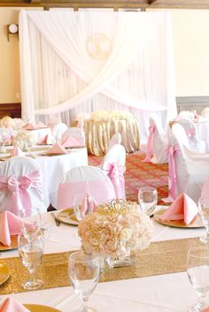 The table settings at this gorgeous pink princess baby shower are stunning! See more party ideas and share yours Baby Shower Table, Baby Shower Cakes, Shower Party, Baby Shower Parties, Baby Shower Themes, Baby Shower Decorations, Shower Favors, Shower Games, Shower Ideas