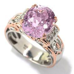 142-124- Gems en Vogue 5.83ctw Oval Kunzite & Diamond Scrollwork Ring
