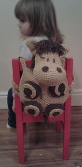 Ravelry: Horse Kids Amigurumi Backpack Bag pattern by Peach. Crochet Gifts, Crochet Toys, Crochet Baby, Single Crochet, Crochet Handbags, Crochet Purses, Crochet Projects, Sewing Projects, Mochila Crochet