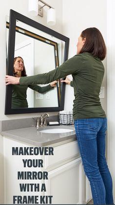 Diy Mirror Frame Bathroom, Bathroom Ideas, Small Bathroom, Bathroom Renovations, Remodel Bathroom, Budget Bathroom, Master Bathroom, Kitchen Remodeling, Redo Bathroom