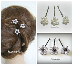 Bridesmaid Hair Clips Wedding Hair Accessories Pearl bobby clips Flower girl clips Set of 3 brown clips Bridal hair do Hair pins Bridesmaid Accessories, Wedding Hair Accessories, Wedding Jewelry, Wedding Hair Clips, Bridal Hair Pins, Diy Hairstyles, Wedding Hairstyles, Pearl Hair Pins, Barrettes