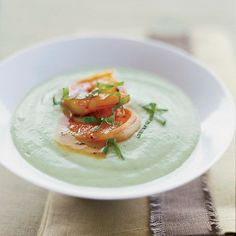Chilled Cucumber-Avocado Soup with Spicy Glazed Shrimp | The combination of cucumber and red wine vinegar in this recipe is reminiscent of a Greek salad.