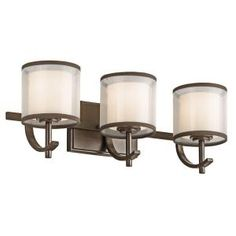 Buy the Kichler Antique Pewter Direct. Shop for the Kichler Antique Pewter 3 Light Wide Bathroom Vanity Light with Organza Shades from the Tallie Collection and save. Vanity Light Bulbs, Vanity Light Shade, Wall Fixtures, Bathroom Fixtures, Light Fixtures, Fan Light Kits, Bathroom Vanity Lighting, Light Bathroom, Master Bathroom