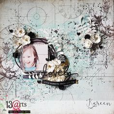 a mixed media layout by Kareen Dion for 13arts