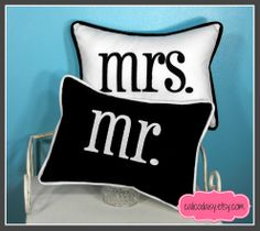 mr and mrs custom embroidered pillow covers.  Choose your colors.  https://www.etsy.com/shop/calicodaisy  #new years eve #home decor #bridal