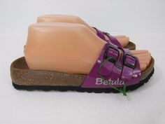 Betula Birkenstock Ira Strap Sandals Slides Purple Patent Upper Size 38 / L7 #Betula #Slides #Casual