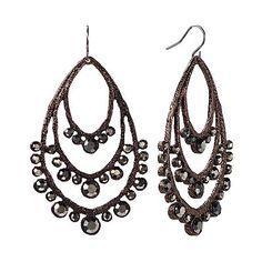 Dana Buchman Chocolate Brown Textured Teardrop Earrings