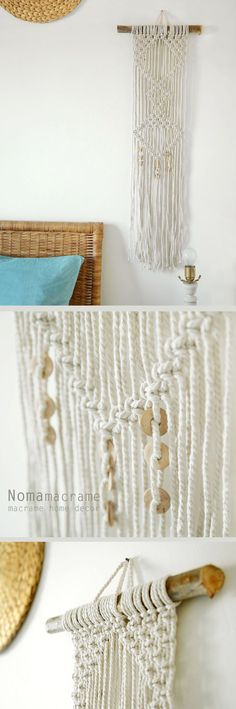 macrame wall hanging can hang & decor your walls and give your home bohochic. this modern macrame gives your room warm feeling, you can hang it in your badroom,living room or any other room.  Wooden dowel length- 30cm (11.5 inches ) Macrame width- 20 cm (7.5 inches ) Macrame length- 90cm ( 35 inches)