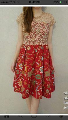 Red motif Batik and broclat Model Dress Batik, Batik Dress, Dresses For Teens, Simple Dresses, Pretty Dresses, Dress Brukat, Lace Dress, Dress Batik Kombinasi, Batik Kebaya