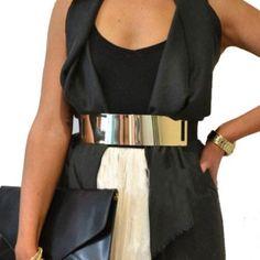 Gold Platted Waist belt (Brown Strap) BRAND NEW! Gold Platted waist belt with brown stretchy belt, fit all sizes ! Accessories Belts