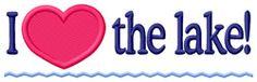 Grand Slam Designs Embroidery Design: I Love The Lake 1.73 inches H x 5.81 inches W