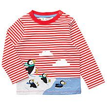 Buy John Lewis Baby Puffin Stripe Long Sleeve Top, Red Online at johnlewis.com