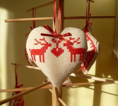 Reindeer cross stitch christmas tree decoration
