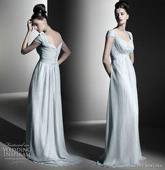 Josechu Santana draped wedding gown with cap sleeves -- Josechu Santana Wedding Gowns